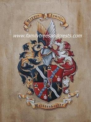 Gerhard Mounet Lipp; Family Crest Coat Of Arms..., 2013, Original Painting Acrylic, 12 x 16 inches. Artwork description: 241  Family Crest Painting on Leather - Each family crest is individually designed, with intricate details, personalized to reflect your family history.  Our featured crest is 12 x 16 inch in size and painted on soft leatherLarger or smaller sizes are available on request.  Every coat of arms ...