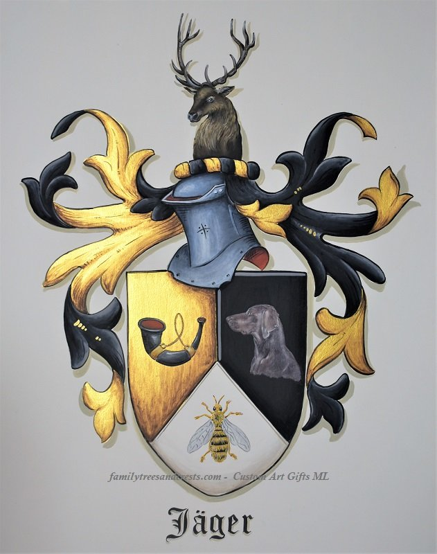 Gerhard Mounet Lipp; Family Crests Custom Coat..., 2019, Original Painting Acrylic, 11 x 14 inches. Artwork description: 241 Family Crest Art on watercolor paper, painted with gold leaf paint.  Each crest is individually designed, with intricate details, personalized to reflect your family history.  Our featured crest is 11 x 14 inch hand painted on watercolor paper.  The final product is a unique piece of art ...