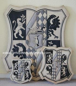 Gerhard Mounet Lipp; Family crest art, old wor..., 2013, Original Painting Acrylic, 10 x 11 inches. Artwork description: 241  Elegant old world coat of arms plaque - have your family crest shield paintedin classic Sgraffito  Our featured Family Crest plaque is created with very fine, detailed brushstroke work and has a light antiqued finish. Wooden plaque made from solid pine or cedar for outdoor use - available ...