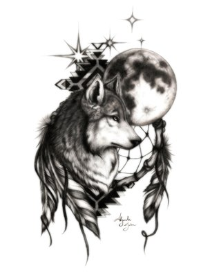 Alejandro Jake; Wolf With Dream Catcher, 2016, Original Digital Print, 8 x 10 inches. Artwork description: 241  Wolf with Dream Catcher done in Graphite on Card Stock and rendered in Photoshop ...