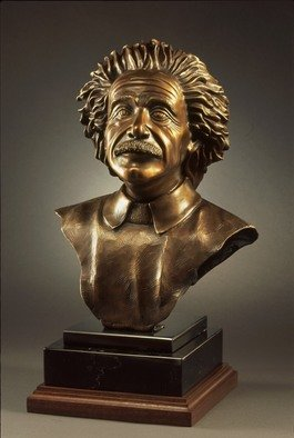 Felix Velez; Albert Einstein Bronze Bust, 2005, Original Sculpture Bronze, 12 x 23 inches. Artwork description: 241 life size Albert Einstein, is mounted in black granite and black walnut wood. The patina  color  is golden bronze for the hair, face is bronze brown, the sweater is off white. The head portrait weigh and the wood base is approximate 43 pound. very nice bronze sculpture. ...
