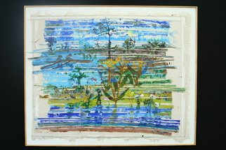 Stephen Fessler; Aftermath, 2011, Original Painting Acrylic, 38.5 x 31 inches. Artwork description: 241    A whimsical landscape constructed of bits of other paintings, arranged like a Venetian blind.   ...