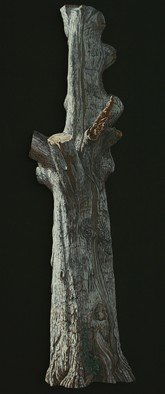 Stephen Fessler; Arboreal Memorial, 2010, Original Painting Oil, 22 x 87.5 inches. Artwork description: 241       This painting on canvas is not rectangular, but has been cut to the shape of this old oak tree trunk. The dimensions are those of an imaginary rectangle which would enclose the entire image, and the stretcher is constructed so that the image seems to float two ...