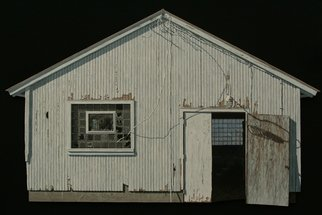 Stephen Fessler; Connection, 2012, Original Painting Acrylic, 67.2 x 41 inches. Artwork description: 241    Shadows of electricity connect these two dark spaces with their sparks of light within a weathered cow shed.       ...