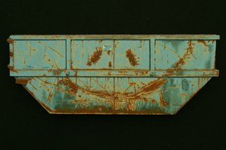 Stephen Fessler; Smile, 2012, Original Painting Oil, 26.3 x 10 inches. Artwork description: 241          An amused dumpster with a rusted scraped- steel smile.     ...