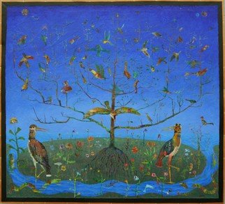 Stephen Fessler; The Tree, Blooming Birds, 2012, Original Painting Acrylic, 82.5 x 74.5 inches. Artwork description: 241     The one tree, the singing birds blossoming from its branches.    ...