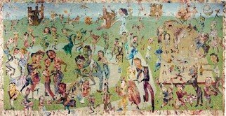Stephen Fessler; The Wedding Feast, 2010, Original Painting Acrylic, 176 x 84 inches. Artwork description: 241    All eat and drink, dance, play, and make music, sit at the banquet board for the feast.  Everyone is part of the wedding on the green grass in the open air.                        ...