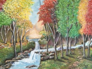 Maria Karlosak; Autumn, 2019, Original Painting Acrylic, 1 x 18 inches. Artwork description: 241 This original handmade Acrylic painting is on 18  x 24  professional gallery wrapped canvas. Autumn by Maria Karlosak Artist . Every season has its special beauty and Atumn is no exspection. Watching a tree turn from a uniform green, yellow and reed is a spectacular experience ...