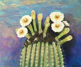 Maria Karlosak; Cactus Flower, 2019, Original Painting Acrylic, 20 x 16 inches. Artwork description: 241 This original hand made acrylic painting on 16  x 20  gallery wrapped canvas by Maria Karlosak artist. Saguaro Cactus flower is Arizona State Flower and a blossom was adopted az the territorial flower- state flower...
