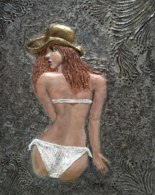 Maria Karlosak; Sunbathing, 2019, Original Sculpture Clay, 24 x 30 inches. Artwork description: 241 Original art made by my hand. Clay relief on canvas, very special unique art , builded right on canvas ...