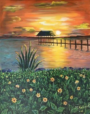 Maria Karlosak; Sunset Over Island, 2019, Original Painting Acrylic, 20 x 16 inches. Artwork description: 241 This original handmade acrylic painting is on 16  x 20  gallery wrapped canvas. Sunset over Island by Maria Karlosak. Beautiful corors of sunset...