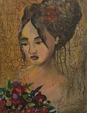Maria Karlosak; Think Of You, 2019, Original Painting Acrylic, 14 x 18 inches. Artwork description: 241 Painting, original, contemporary, canvasart, handpainted, thing of you, art, textured paining, wall art, wall design, fantasy painting, women, portrait, figurative abstract, bouquet, Impressionism, flower                                            ...