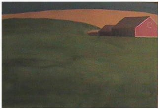 John Fields; Field, 2001, Original Painting Oil, 36 x 24 inches. Artwork description: 241 Isolated barn and out- buildings on a green hillside back- dropped by amber fields with blue sky. ...