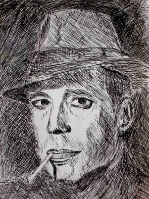 J P; Bogie, 2006, Original Drawing Pen, 6 x 9 inches. Artwork description: 241  This is a piece I did for my senior art show in college.  The theme was called retrospect, and I did other pieces of movie stars and characters I grew up enjoying watching. ...