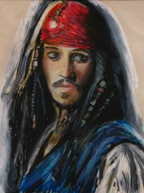 J P; Captain Jack Sparrow, 2006, Original Pastel, 12 x 16 inches. Artwork description: 241  This is an oil pastel drawing on newsprint of Johnny Depp as Captain Jack Sparrow ...