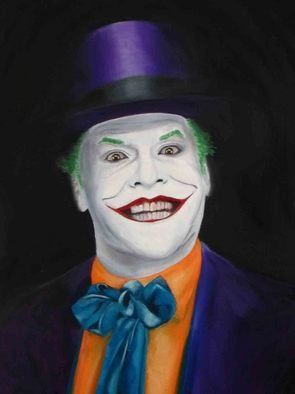 J P; Jack As Joker, 2006, Original Painting Oil, 18 x 24 inches. Artwork description: 241  This is an oil painting of Jack Nicholson as the Joker in the movie Batman ...