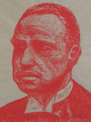 J P; The Godfather, 2006, Original Drawing Marker, 18 x 24 inches. Artwork description: 241  This is a marker drawing on newsprint of Marlon Brando as the Godfather ...