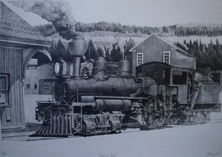 Bob Filbey; Spanking Fury, 1989, Original Printmaking Lithography, 29 x 20 inches. Artwork description: 241  Blue Lake Depot lumber # 7 locomotive steam engine    ...