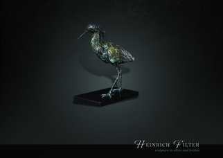 Heinrich Filter; Black Egret Bronze Sculpture, 2015, Original Sculpture Bronze, 30 x 34 cm. Artwork description: 241  Black Egret in bronze on stone base, limited edition of 9, width 30 cm x height 34 cm inclusive of base. ...