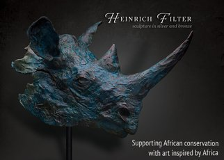 Heinrich Filter; Black Rhino Bust In Bronze, 2015, Original Sculpture Bronze, 35 x 37 cm. Artwork description: 241  Black Rhino in Verdigris blue, bronze bust on stone base ...
