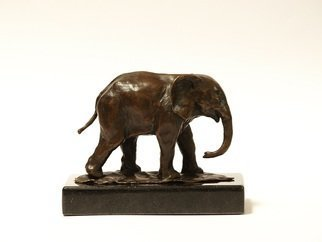 Heinrich Filter; Elephant In Bronze, 2013, Original Sculpture Bronze, 12 x 9 cm. Artwork description: 241  Baby elephant in bronze on stone base; length 12 cm x height 9 cm inclusive of base. ...