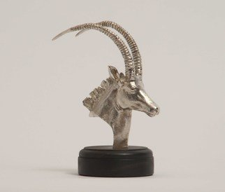 Heinrich Filter; Sable In Sterling Silver, 2013, Original Sculpture Other, 16.5 x 12.5 cm. Artwork description: 241 Sable antelope bust; sculpture in Sterling silver on ebony base by Heinrich Filter; Sterling silver weight approx 480 grams; also available in bronze...