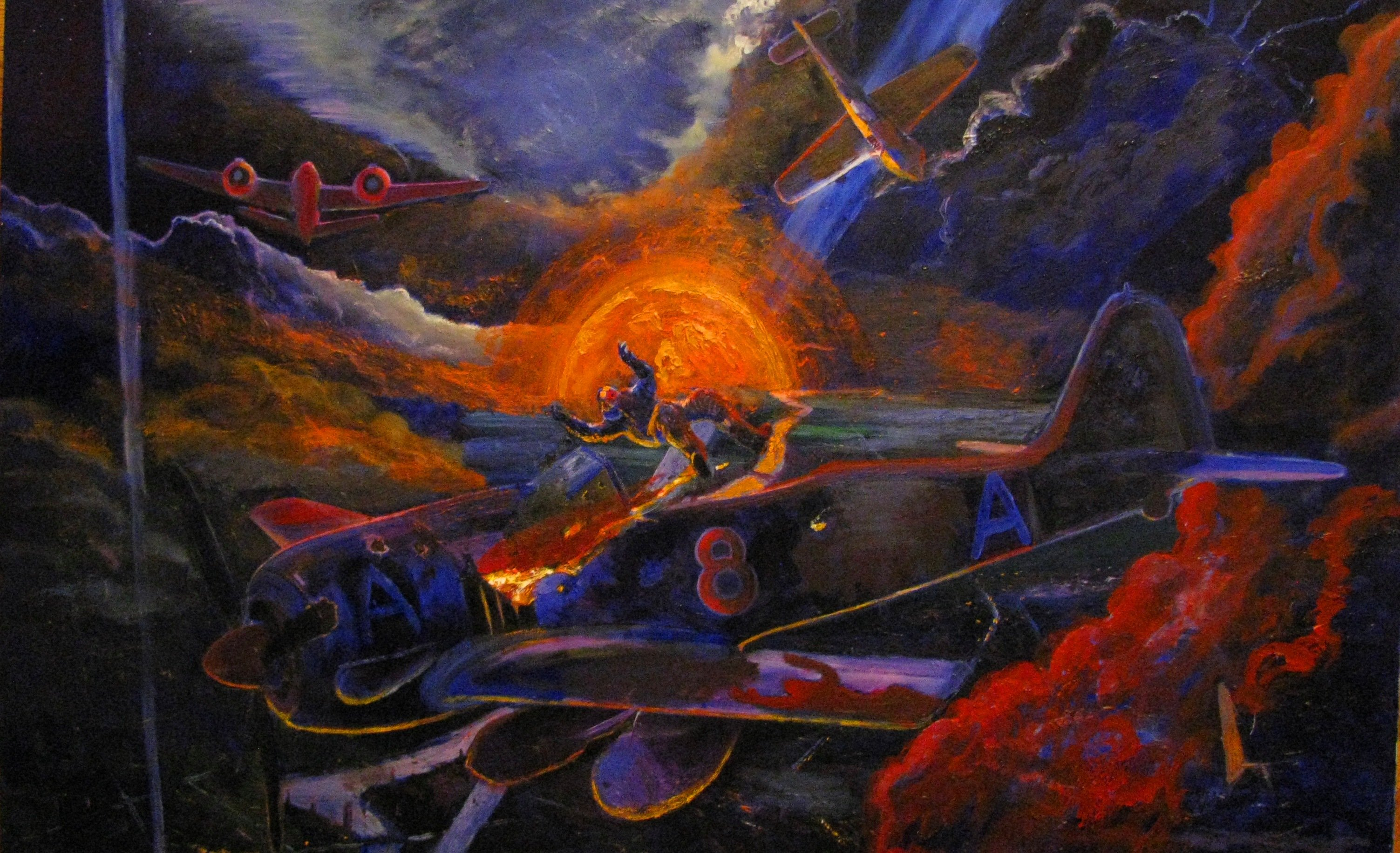 Marcin Regulski; Polish Victory, 2012, Original Painting Oil, 120 x 80 cm. Artwork description: 241  aEURzPolish victoryaEURJuly 1943. The piloting Bristol Beaufighter by the Polish crew accurately hit the Fw- 190 during the one of night missions aEURzIntruder OperationsaEUR. German pilots survives by desperate emergency jump. Under the hub, the distance range tanks and a bomb, which will not hit the ...