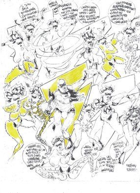 Anthony Blake; Lightningman, 2019, Original Comic, 25.6 x 25.6 inches. Artwork description: 241 IJUST LIKE SKETCHING...