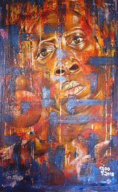 Franklin Ojoo; A Womans Gaze, 2018, Original Painting Oil, 32 x 55 inches. Artwork description: 241 Oil on canvas at an African woman staring ...