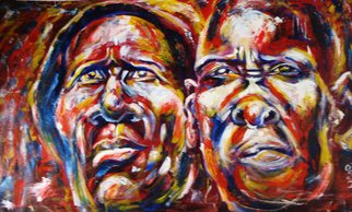 Franklin Ojoo; Faces, 2016, Original Painting Acrylic, 55 x 33 inches. Artwork description: 241 Acrylic pain on canvas. Elderly Africa Turkana couple faces...