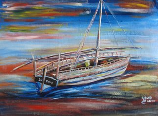 Franklin Ojoo; Lamu Dhow1, 2016, Original Painting Oil, 22 x 16 inches. Artwork description: 241 Oil on canvas of a docked old dhow...
