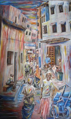 Franklin Ojoo; Lamu Street, 2016, Original Painting Oil, 33 x 55 inches. Artwork description: 241 Oil on canvas painting depicting a street in old Lamu town at the Kenyan Coast. Lamu has rich old architecture best captured in paintings by use of many colors...