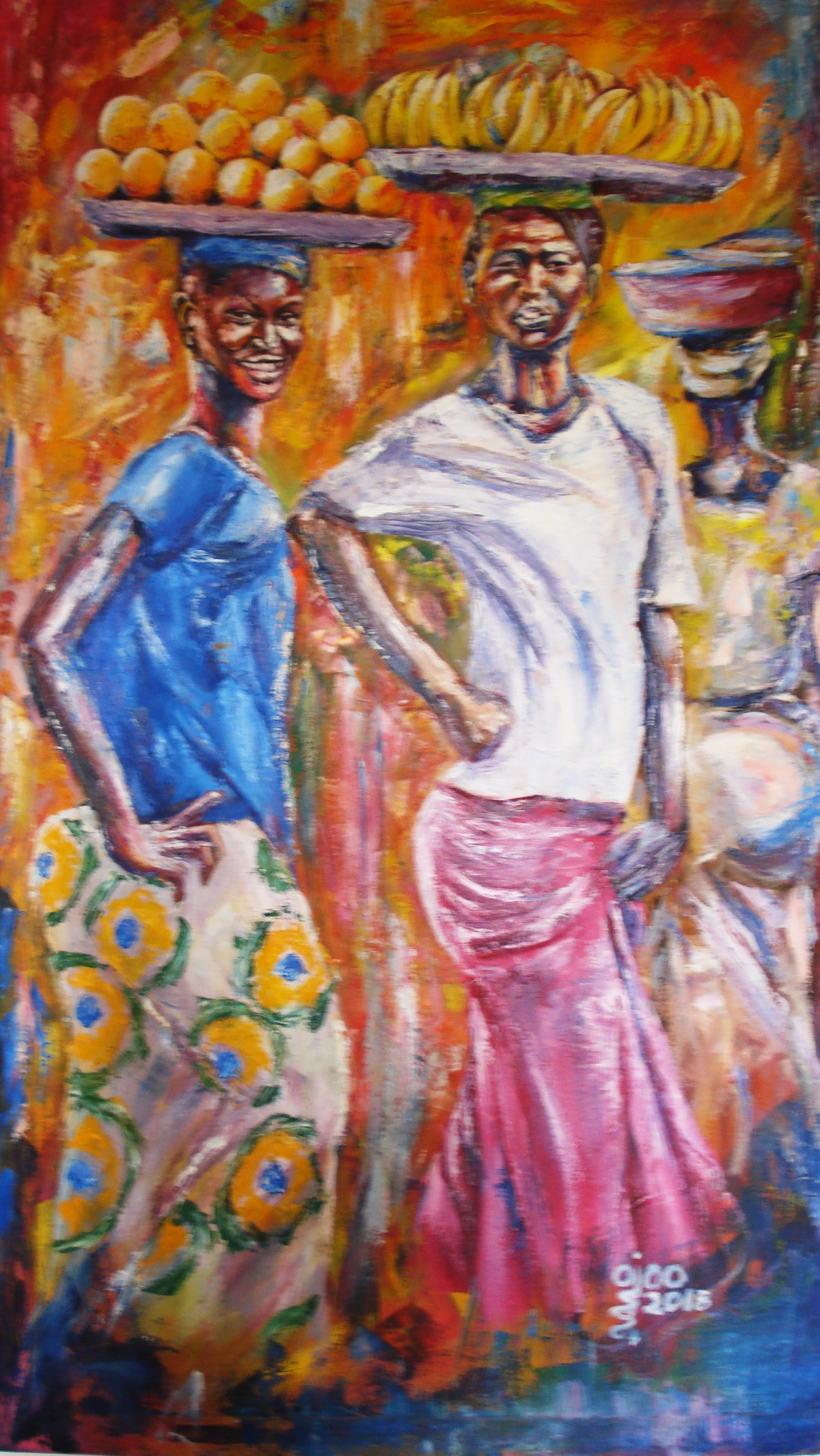 Franklin Ojoo; Market Day 1, 2018, Original Painting Oil, 32 x 59 inches. Artwork description: 241 Oil paint on canvas using palette knife, depicting African women going to the markets to sale their products...