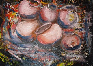 Franklin Ojoo; Pots, 2016, Original Mixed Media, 22 x 16 inches. Artwork description: 241 Mixed Media on fabric. African pots...