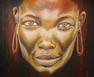 Franklin Ojoo; Village Beauty, 2018, Original Painting Oil, 25 x 21 inches. Artwork description: 241 Oil on canvas portrait painting of a Samburu lady from northern Kenya...