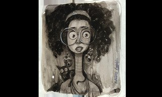 Edward Franklin; Lady Face, 2019, Original Watercolor, 7 x 9.5 inches. Artwork description: 241 Lady Face animal lover, mono tone watercolour with Cartoony and comic design. Curly hair, big Eyes, Large Spects. Long neck watercolour wash effect. ...