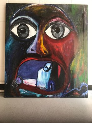 Frances Bildner; Hunger, 2018, Original Painting Acrylic, 54 x 48 inches. Artwork description: 241 Hunger is a mask of horror about the holocaust. It shows the absolute horror of aggression and disappearance and extinction of people by monsters. ...