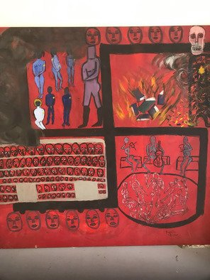 Frances Bildner; The Four Stages, 2018, Original Painting Acrylic, 54 x 54 inches. Artwork description: 241 This painting depicts the four stages of the holocausts. The jewish yellow star as identification and ostracization, The burning of the books, The cattle cars on their way to the camps and the final skeletal looking people and death...