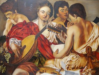 Freddy Raaffels; The Musicians, 2009, Original Painting Oil, 63 x 52 cm. Artwork description: 241  The Musicians from caravaggio ...