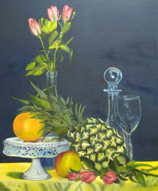 Freddy Raaffels; Still Live With Pineapple, 2011, Original Painting Oil, 50 x 60 cm. Artwork description: 241  still life with pineapple ...