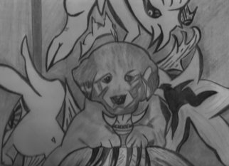 R.l. Armstrong; Puppy Love, 2007, Original Drawing Pencil, 14 x 11 inches.