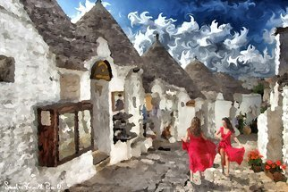 Sandro Frinolli Puzzilli; Alberobello, 2017, Original Digital Art, 70 x 50 cm. Artwork description: 241 This work was made during a trip to Alberobello in Italy. I met some women who danced the  Taranta  a traditional dance of Puglia. Photographic technique elaborated in digital art and printed on 300 gram paper...