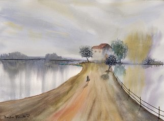 Sandro Frinolli Puzzilli; Homeward, 2019, Original Watercolor, 61 x 46 cm. Artwork description: 241 This work was made with the technique of watercolors on 300 g cotton paper. I wanted to tell the emotion of coming home after a day of work. ...