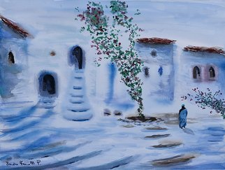 Sandro Frinolli Puzzilli; Mystery Blue, 2019, Original Watercolor, 70 x 50 cm. Artwork description: 241 This work was made during a trip to Morocco in the village of Chefchaouen with the technique of watercolors on cotton paper...