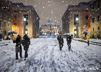 Sandro Frinolli Puzzilli; Snow In Rome, 2019, Original Digital Art, 70 x 50 cm. Artwork description: 241 This work was made on a snowy evening in Rome with a photographic technique subsequently elaborated with digital art and printed on Canson 300 gram paper. ...