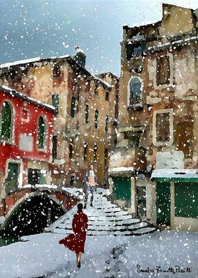 Sandro Frinolli Puzzilli; Snow In Venice, 2020, Original Digital Art, 50 x 70 cm. Artwork description: 241 This work was made in Venice with the photographic technique and processed with digital art...