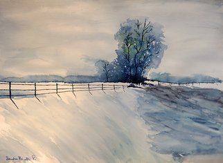 Sandro Frinolli Puzzilli; Winter Morning, 2019, Original Watercolor, 61 x 46 cm. Artwork description: 241 This work is made with the technique of watercolors on cotton paper and represents an imaginary scene of a snowy landscape in the morning...