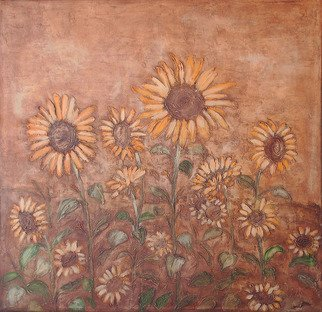Claudia Frizzarim; Sunflowers, 2007, Original Painting Acrylic, 48 x 48 inches. Artwork description: 241  Textured ...