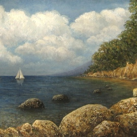 Tatiana Fruleva, , , Original Painting Oil, size_width{Sea_and_clouds-1437516764.jpg} X 7.8 inches