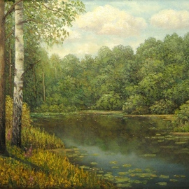Tatiana Fruleva, , , Original Painting Oil, size_width{Wood_lake-1437516780.jpg} X 7.8 inches